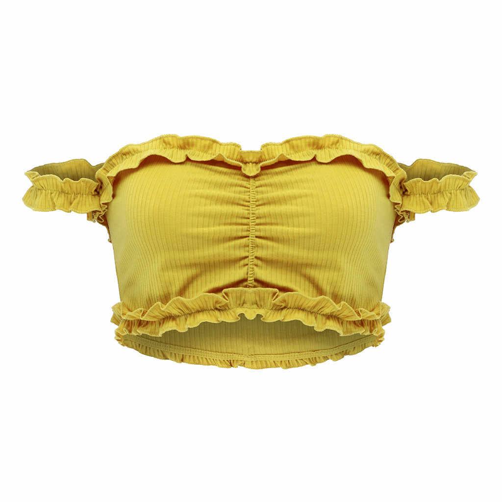 Thời Trang Áo Crop Top Nữ Áo Bể Áo Ngực Áo Crop Tops Áo Sơ Mi Mùa Hè Crop Sexy Hở Lưng Đen Dễ Thương Nữ quần Áo