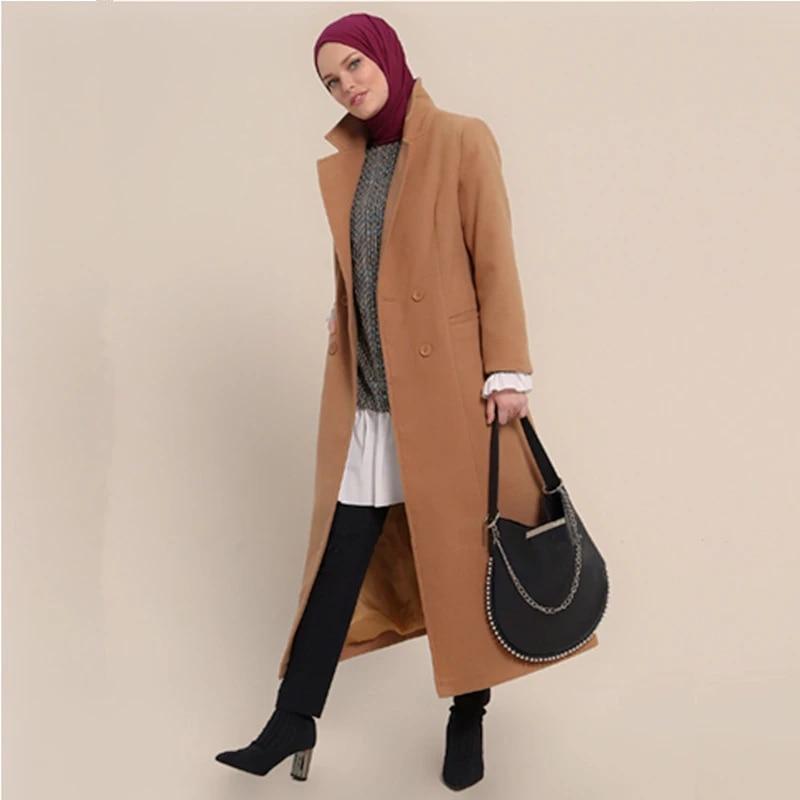 Женское длинное шерстяное пальто Siskakia, однотонное двубортное приталенное пальто цвета хаки с разрезом сзади, зима 2019