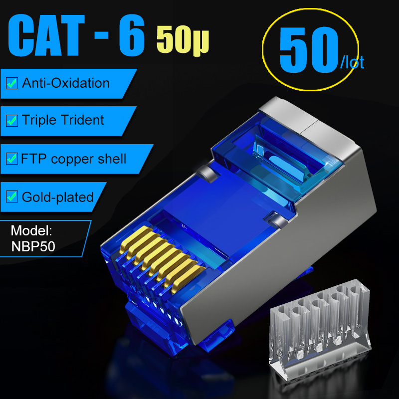 SAMZHE Cat6 RJ45 Connector 8P8C Modular Lan Cable Head Plug 50Pcs/30Pcs/100Psc Cat 6 Crimp Network RJ 45 Connector For Ethernet