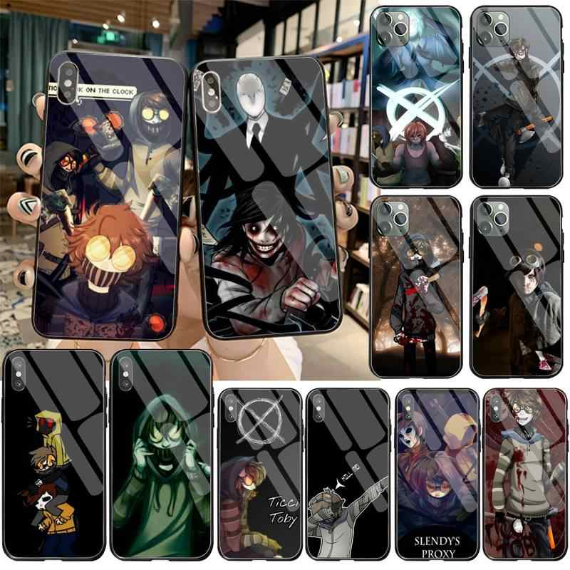 Creepypasta Ticci Toby x reader Luxury Unique Phone Cover Tempered Glass For iPhone 11 Pro XR XS MAX 8 X 7 6S 6 Plus SE 2020case