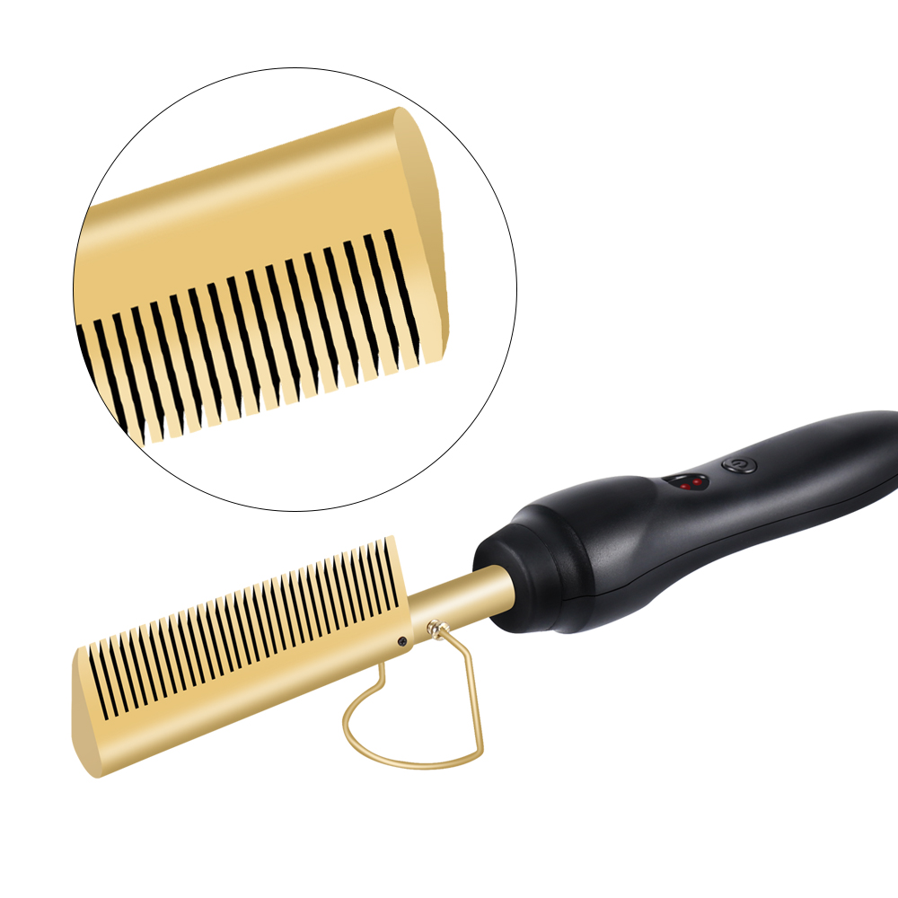 Hot Comb Hair Straightener Curler Hair Wet And Dry Use Professional Straightener Brush Electric Titanium Alloy Comb Dropshipping