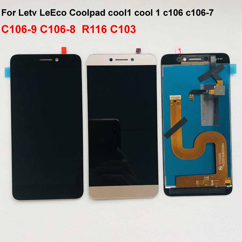 Gray Original For Cool1 Dual C106 R116 C103 c106-8 LCD Display Touch Screen Digitizer Assembly For Letv Le LeEco Coolpad Cool 1c(China)