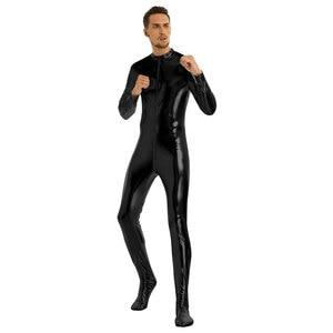 Image 3 - Iiniim męskie ciało Sexy miś błyszczące metalowe klub Bodystocking zamknięte Toe rozciągliwe całe ciało trykot Body Clubwear kostiumy