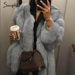 Image 2 - Simplee Thick streetwear women faux fur coat Luxury autumn winter female warm overcoats Plus size 5XL ladies furry jackets 2019