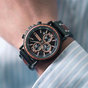 Image 5 - Часы Мужские Gepersonaliseerde Bobo Vogel Hout Horloge Mannen Chronograph Militaire Horloges Luxe Stijlvolle Met Houten Doos Reloj Hombre