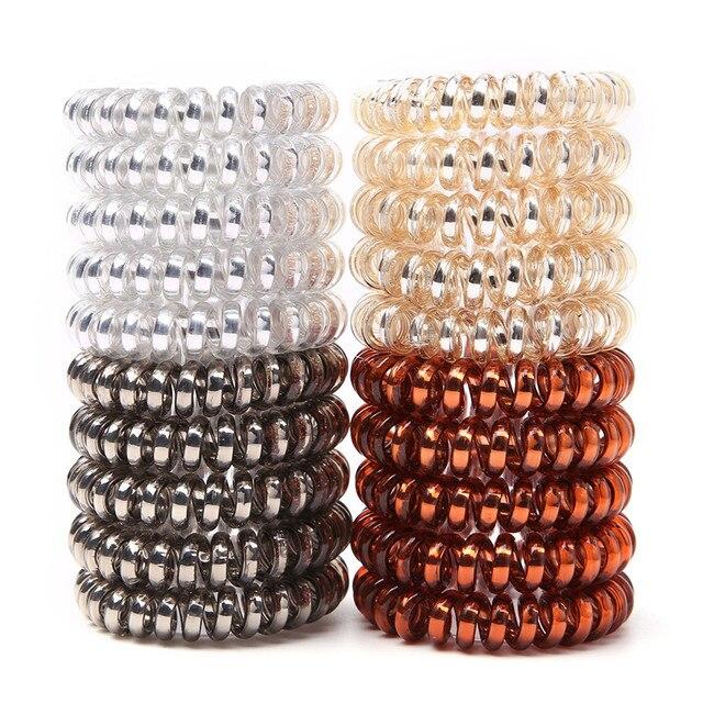 Bandes de cheveux en plastique | Mélange de 5 pièces/pag, ligne de téléphone classique, gomme Simple et tendance pour les accessoires de coiffure pour les filles
