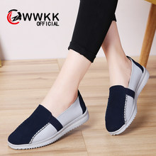 WWKK 2019 Fashion Women Loafers Flats Woman Slip On Lady Genuine Leather Moccasins Casual Female Shoes sapatos feminino(China)