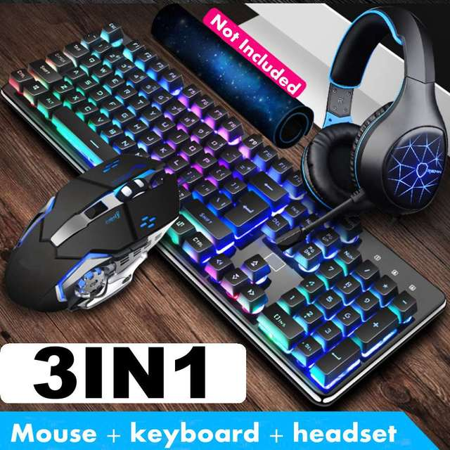 3 Pcs/set Keyboard Mouse Mice Headset Combos Set Game Luminous Keyboard 26 Keys Round Buttons Square Buttons Mechanical Mouse