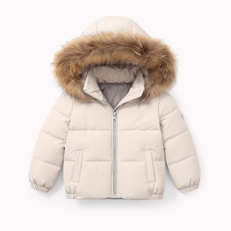 Winter Childrens coat Fur Collar Hooded kids clothes Baby Boys Girls Thickened Down Jacket 2021 Y09.12 3