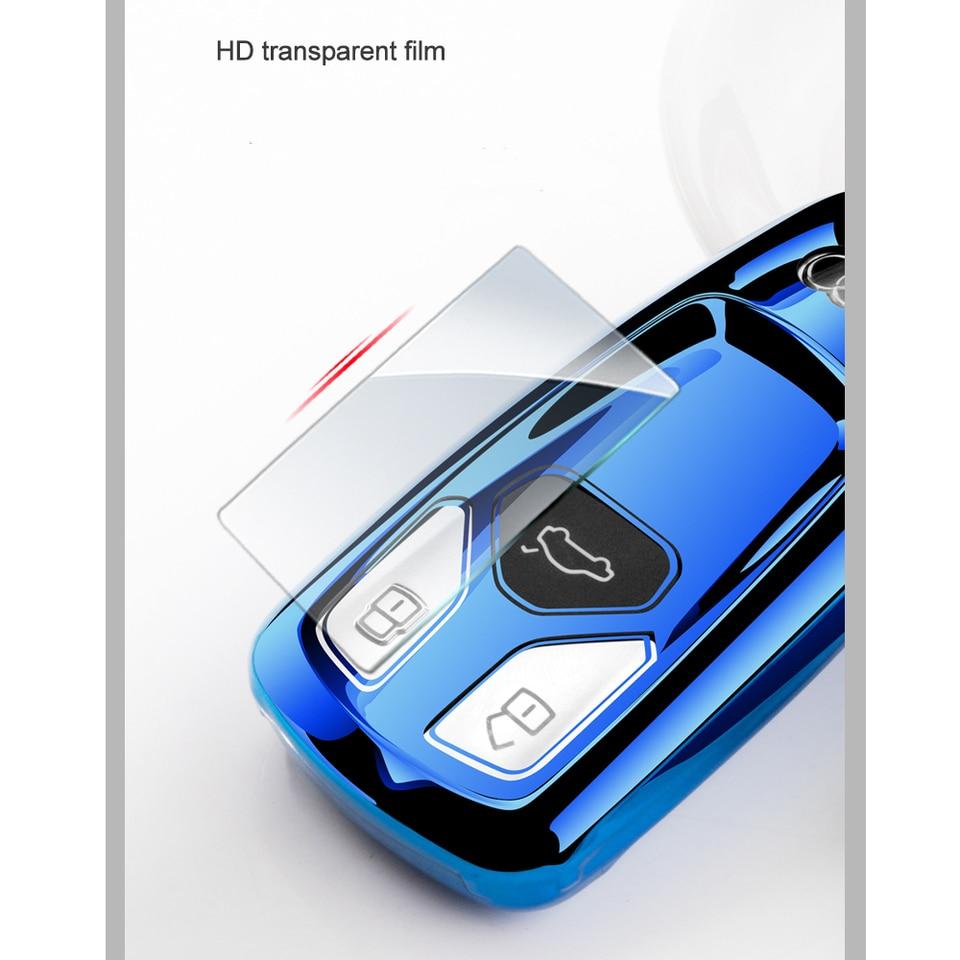 Key Fob Case for Audi A4L A6L Q5 A5 A7 A8 S5 S7 Key Cover 3 Buttons Smart Remote Premium Soft TPU Audi Key Cover Pink LEADSTAR for Audi Key Fob Cover