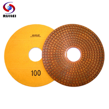 RIJILEI 350mm Super Diamond polishing pads 4 Steps Copper metal bond wet pad for granite marble stone Grinding Discs