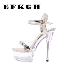 Shoes Women Crystal Sandals 2019 Sexy High Heel 15CM Fine with Waterproof Table Transparent Crystal Shoes Wedding Shoes Banquet wedding shoes white diamond crystal pearl high heel waterproof table adult shoes wedding shoes bridal shoes