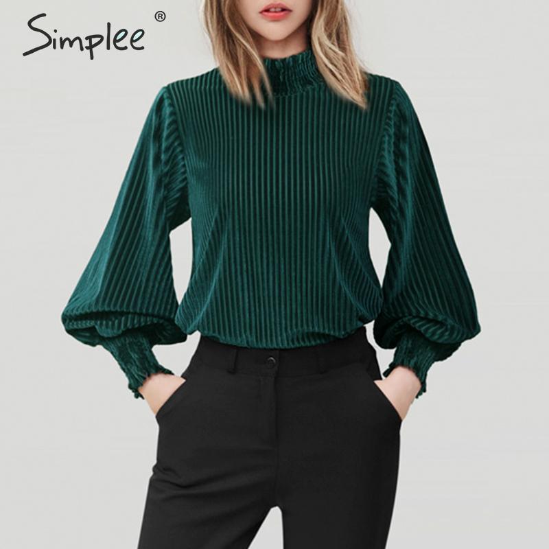 Simplee Vintage Striped Velvet Women Blouse Shirt Stand Neck Lantern Sleeve Female Top Shirts Autumn Winter Loose Ladies Blouses