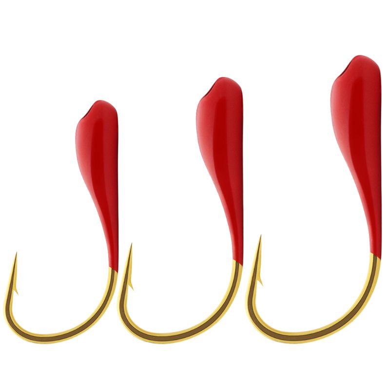 10pcs/set Red Fishing Hook Stainless Steel Barbed Overturned Hook Fishing Accessories Supplies Lure Carp Fishing Tackle