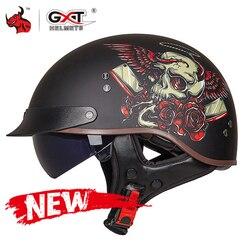 GXT retro kask motocyklowy Vintage kask moto otwarta twarz skuter rowerzysta wyścigi motocyklowe kask jeździecki z certyfikatem DOT Kaski    -