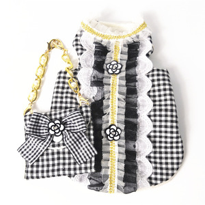 Image 4 - Cat Dog Clothes Bag Set Pet Dress Vest Luxury Pearl Decoration Classic Camellia Puppy Clothes for Dog Small Meduim Dog Chihuahua