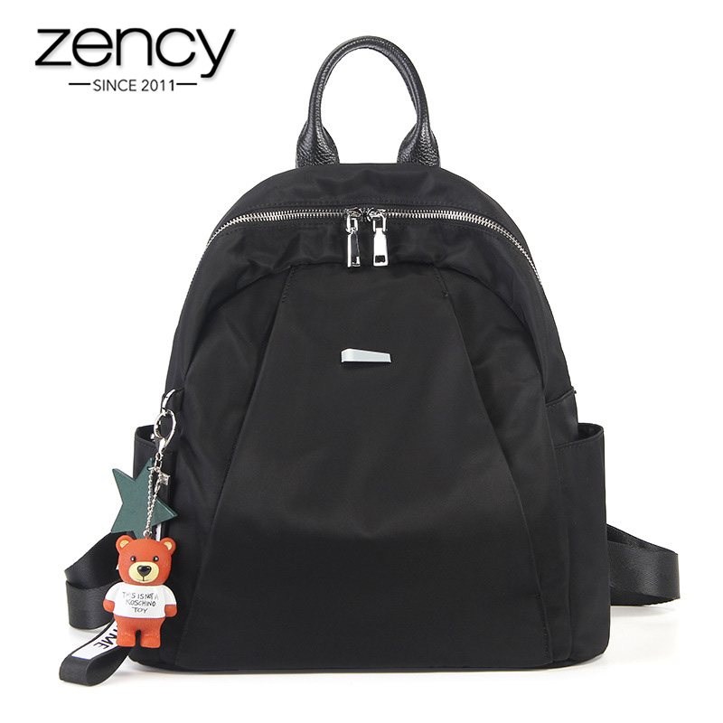 Zency High Quality Lightweight Oxford Women Backpack Classic Black Daily Casual Travel Bag Girls Schoolbag Canvas Knapsack