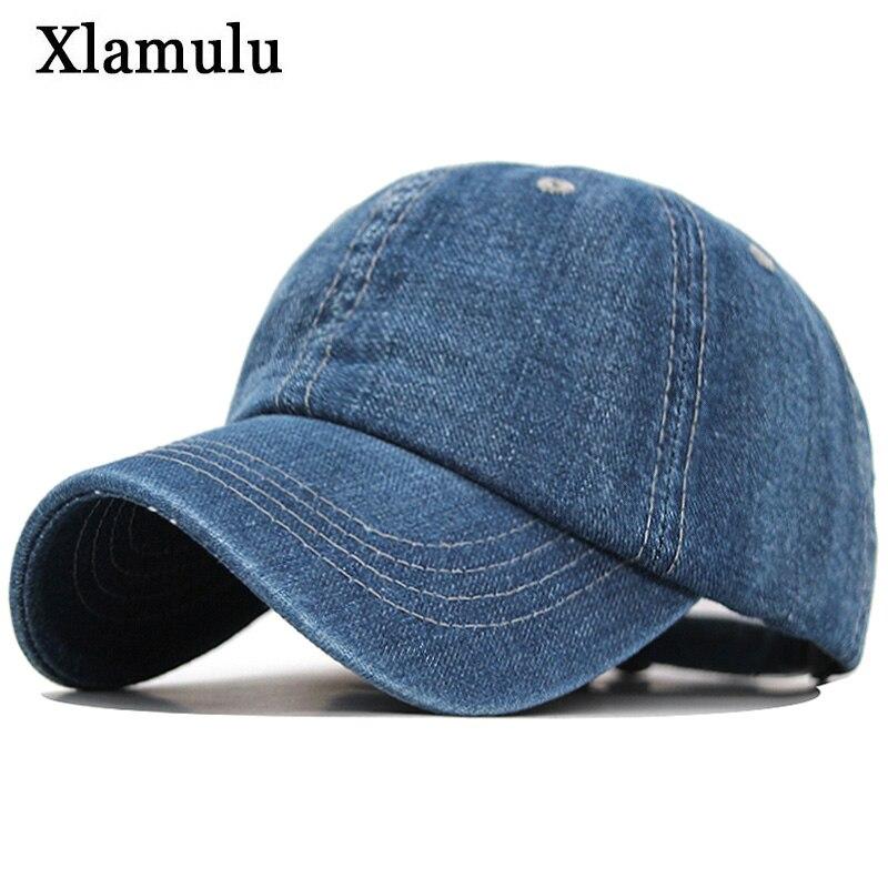 Xlamulu Solid Denim Baseball Cap Men Women Jeans Snapback Caps Casquette Plain Bone Hat Gorras Men Casual Blank Dad Male Hats