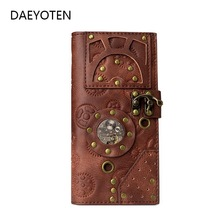 DAEYOTEN New Women Wallets Retro Steampunk Long Men Wallet Gothic Rivet Purse Embossing Card Holder Money Women's Bag ZM0337