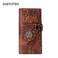 DAEYOTEN New Women Wallets Retro Steampunk Long Men Wallet Gothic Rivet Purse Embossing Card Holder Money Women's Bag ZM0337