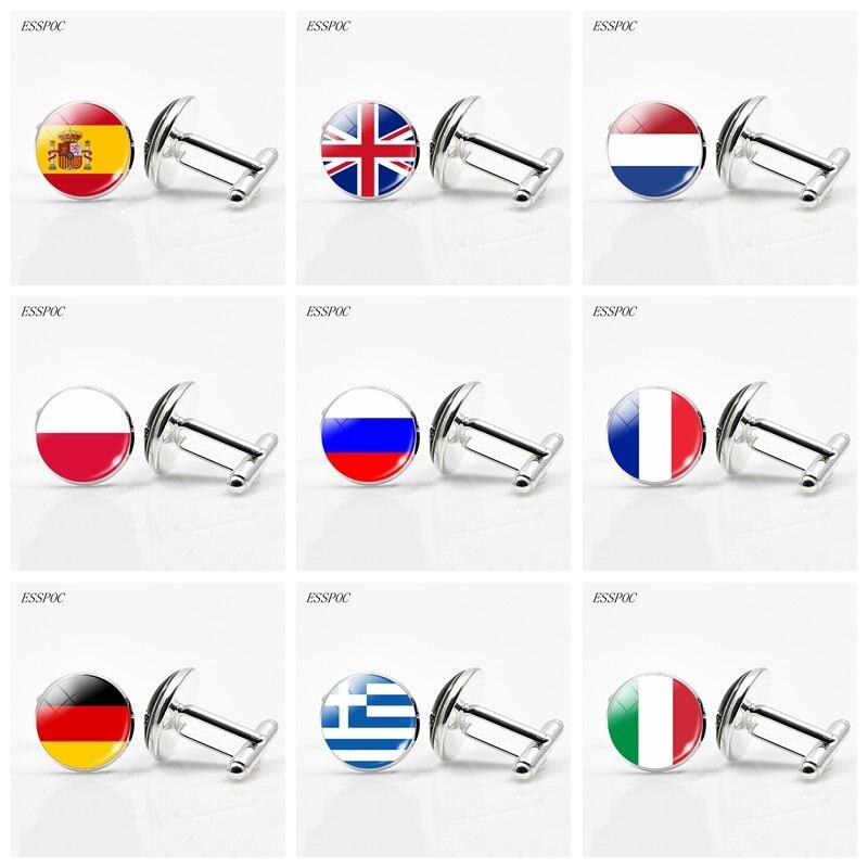 UK Flag Cufflinks Europe Country National Flag France Italy Spain Poland.Netherlands Russia Flag Men Wedding Cufflinks