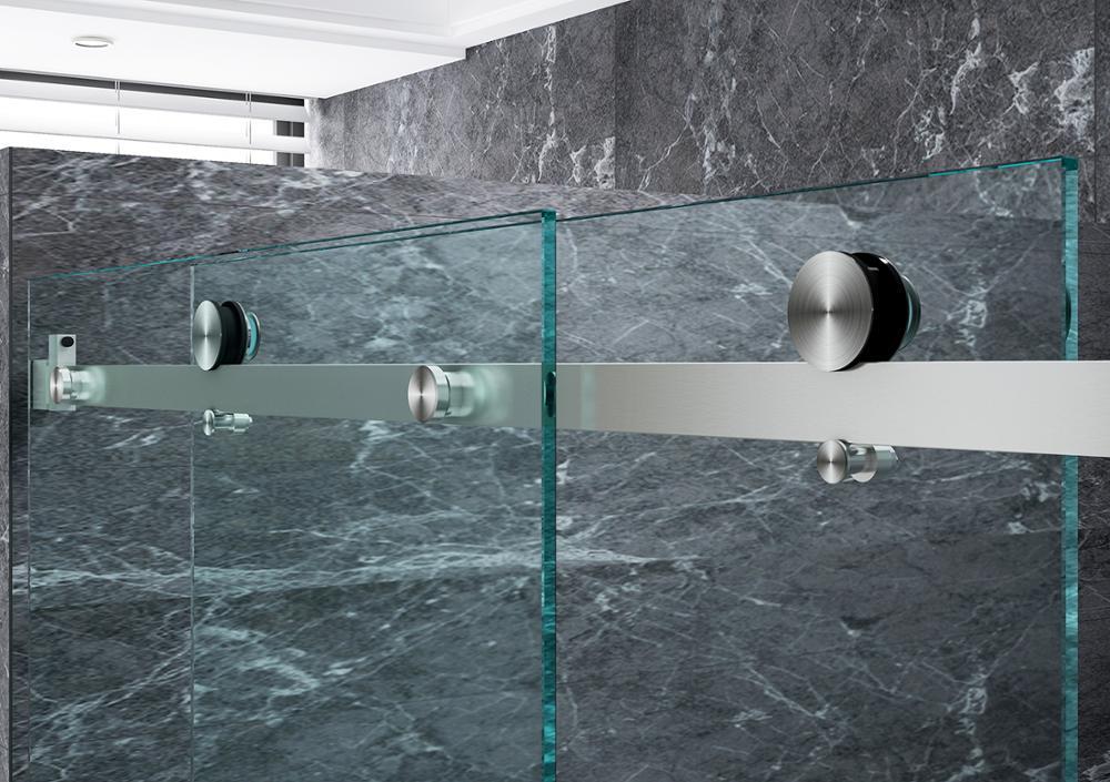 DIYHD 152cm/200cm Flat In-line Sliding Shower Door Hardware Satin Stainless Steel Frameless Shower Door Roller