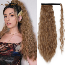 Wavy Ponytail Hair-Extensions Wrap Blonde Fack-Hair Clip-In Brown Black Synthetic Long