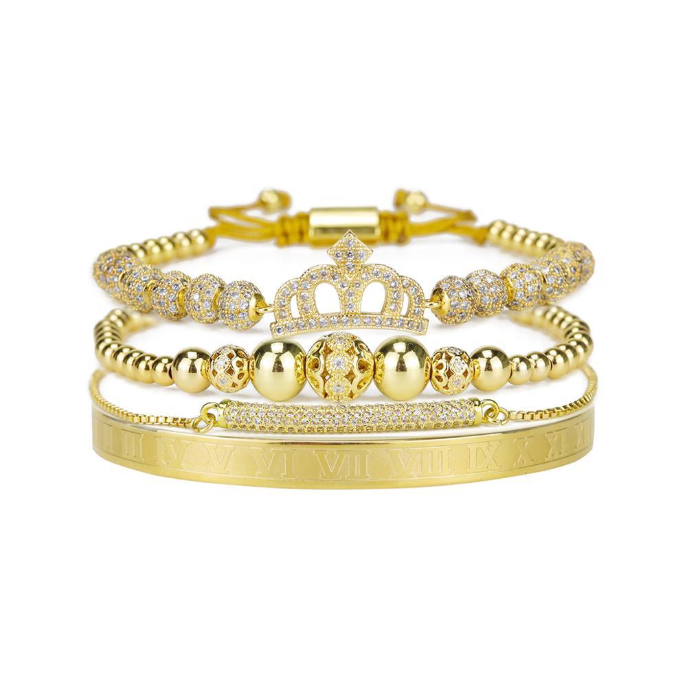 Pulsera de lujo para mujer, brazalete ajustable de acero inoxidable CZ con corona de Reina, pulseras y brazaletes para mujer, joyería para mujer