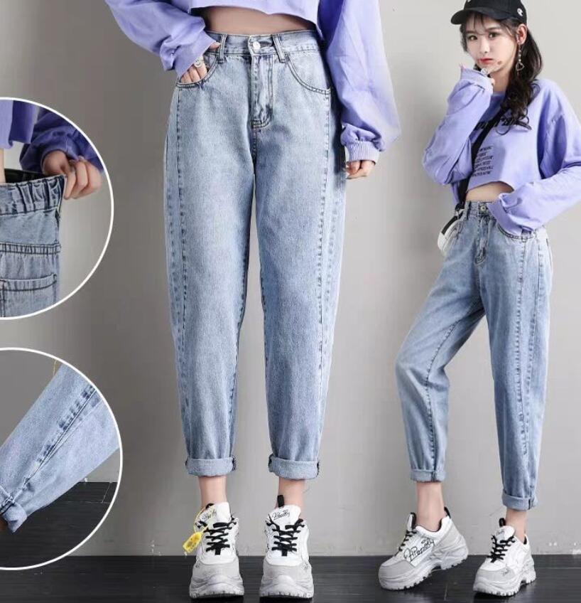Long  Pants Cotton Straight Jeans Woman Elasticity High Waist Jeans Woman Plus Size Mom Jeans Blue Loose Harem Pants Winter