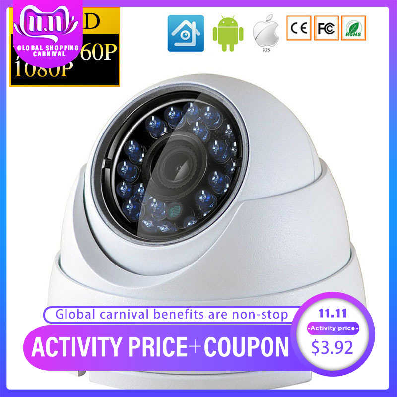 IP Dome Camera 720P 1080P H.264+/H.265 HD Network Indoor IRC 24 LEDs Infrared NightVision ONVIF P2P CMS XMEYE