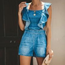 Short Jumpsuit Rompers Overalls Color-Playsuits Sexy Women Denim Pants One-Piece Cotton