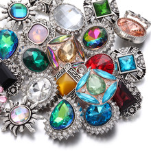 6pcs/lot 2019 New Snap Jewelry Mixed Colorful Rhinestone Crystal 18mm Snap Button Jewelry Fit Snap Bracelet DIY Charms Jewelry(China)