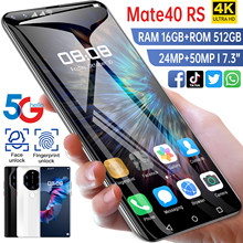 7.3-inch Mate40 RS 1440*3200 5G Smart Cell Phone 16GB+512GB 24MP+50MP Battery 4k 6800mAh Android 11.0 Face Finger ID MTK68889