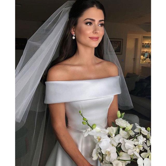robe de mariee vestido boho wedding dress satin longue wedding Dress Robe De Soiree simple robe de soiree bride to be платье 1