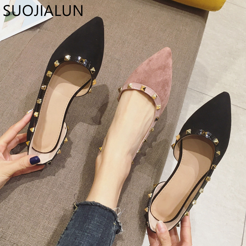 SUOJIALUN New Women Flats Shoes Fashion Rivet Spring Ladies Pointed Toe Ballet Flats Ladies Shallow Slip On Loafers Casual Shoes
