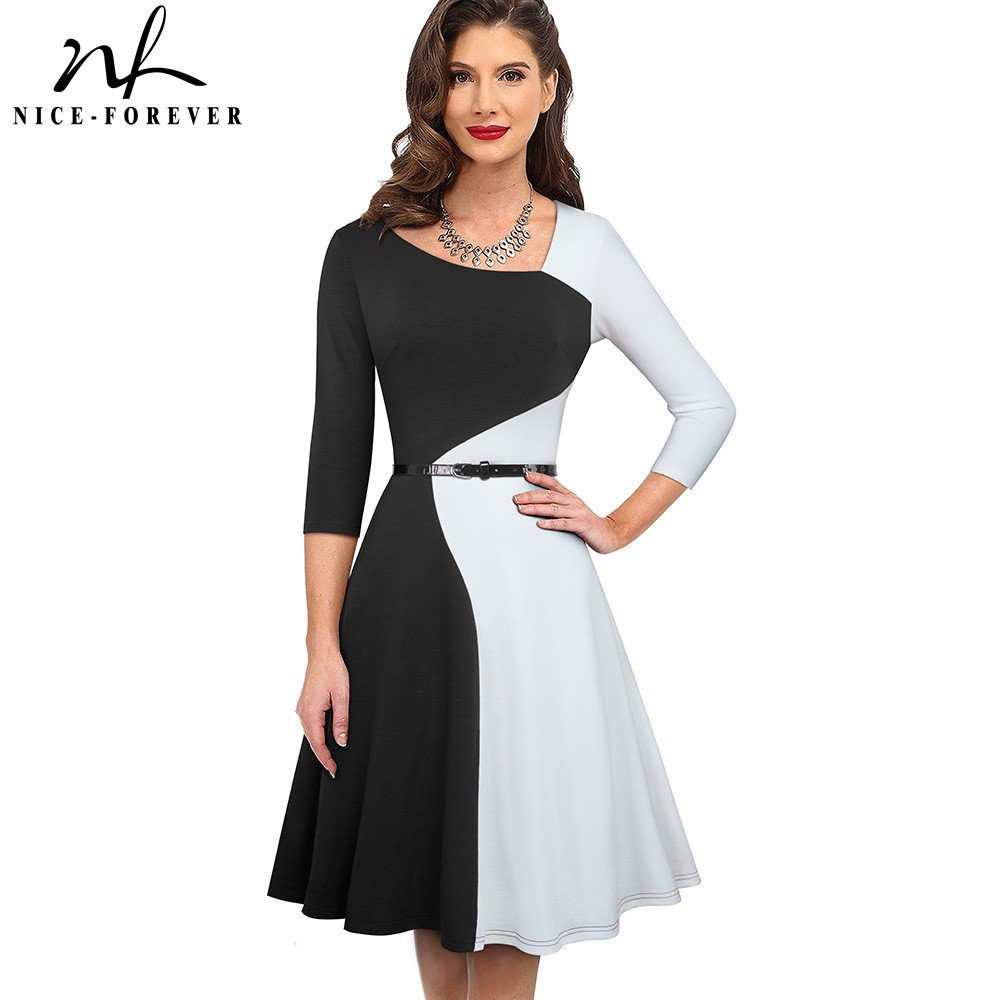 Nice-forever 1950s Retro Contrast Color Patchwork Winter Vestidos Business Party Flare A-Line Women Swing Elegant Dress A178