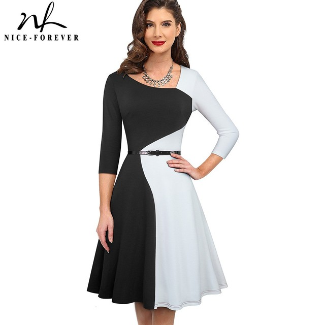 Nice-forever 1950s Retro Contrast Color Patchwork Winter vestidos Business Party Flare A-Line Women Swing Elegant Dress A178 1