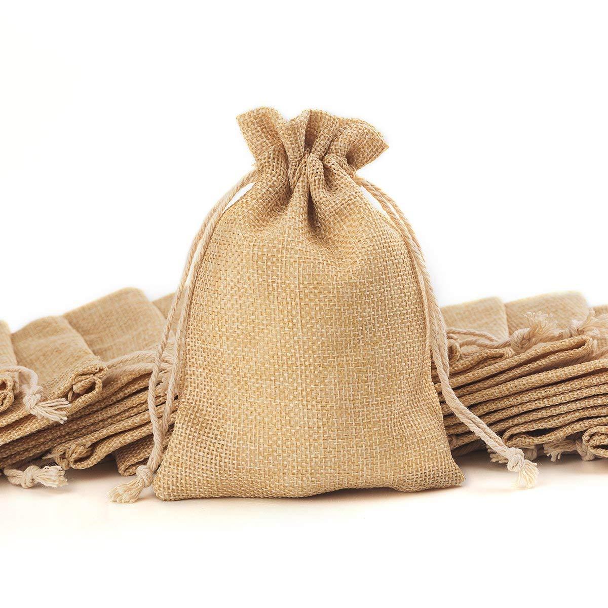 100 sacs de toile de jute de pièce avec des sacs-cadeaux de cordon pour la fête de mariage, projets d'art et d'artisanat, cadeaux, casse-croûte et bijoux, - 5