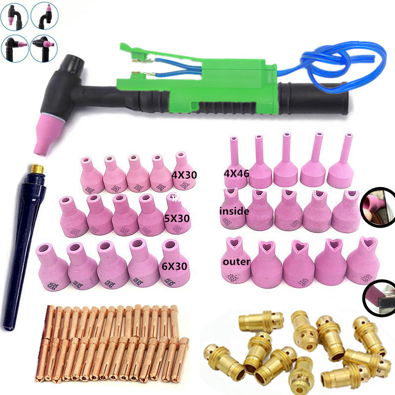 73pcs qq150-150a TIG welding accessories package tungsten needle copper clip internal and external nozzle welding gun head