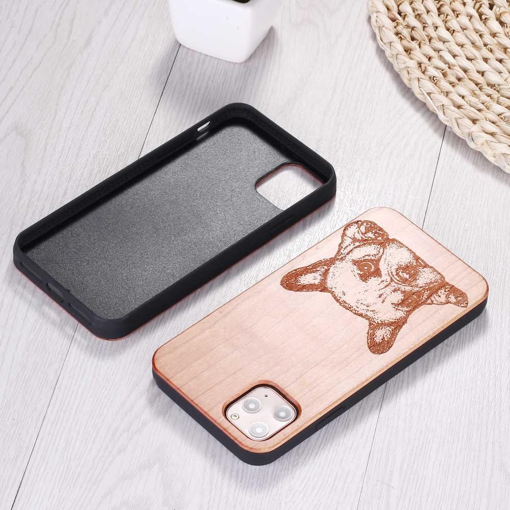 Cartoon buldog francuski zwierzęta prawdziwe drewno etui na telefony Coque Funda dla iPhone 6 6S 6Plus 7 7Plus 8 8Plus X XR XS Max 11 Pro Max