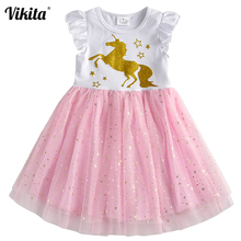 VIKITA Dress for Girls Unicorn Princess Dresses Vestido Infantil Robe Fille Girl Party Dress Kids Tutu Summer Licorne Dresses стоимость