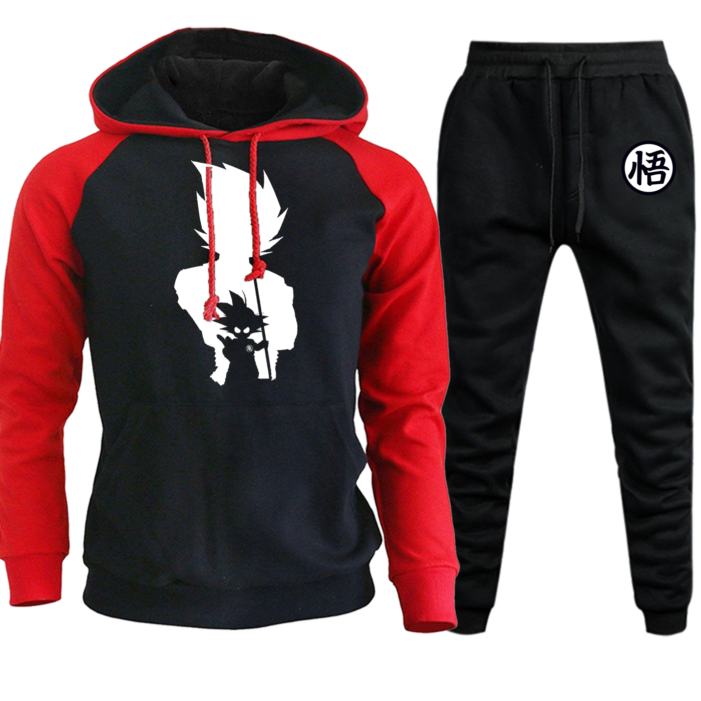 Saiyan Funny Printed Sweatshirts Raglan Men Hoodies Autumn Winter 2019 Hip Hop Draglan Ball Cartoon Suit Hoody+Pants 2 Piece Set