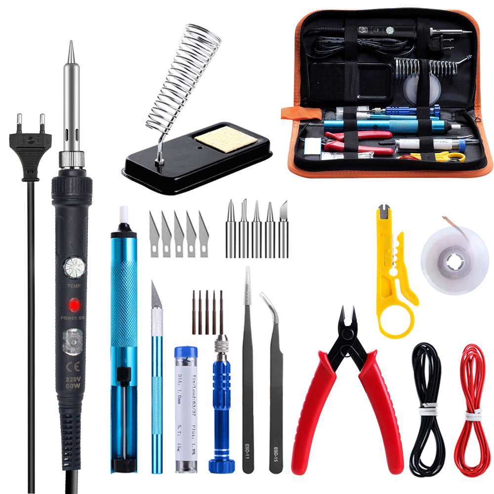 GEYOTAR EU 220V 60W Adjustable Temperature Electric Soldering Iron Kit With Switch Solder Wire Tweezers Soldering Iron Tips