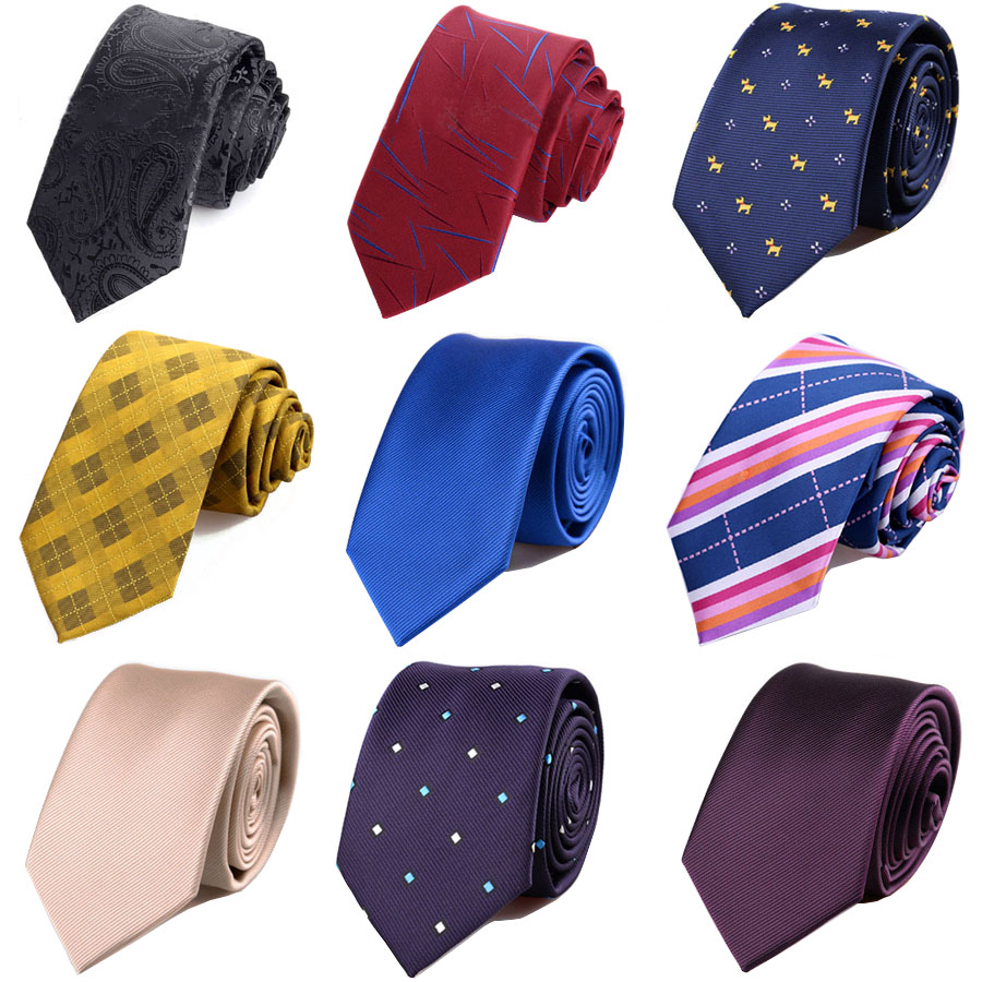 New Polyester Slim Tie For Man 6cm Skinny Neck Ties Blue Black Solid Dot Striped Business  Narrow Necktie Shirt Accessories