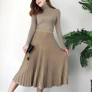 Image 2 - Herbst Winter Glitter Gestrickte Zwei Stück Set Frauen Langarm rollkragenpullover Pullover Pullover + Hohe Taille Gefaltete Midi Rock Sets