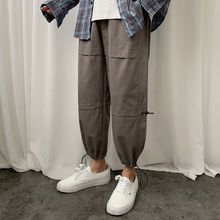 Spring Straight Casual Pants Men's Fashion Solid Color Drawstring Overalls Men Streetwear Loose Hip-hop Joggers Trousers Mens