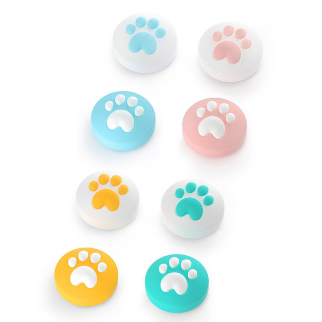 4pcs Cute Cat Paw Claw Thumb Stick Grip Cap Joystick Cover For Nintend Switch Lite NS Joy Con Controller Gamepad Thumbstick Case