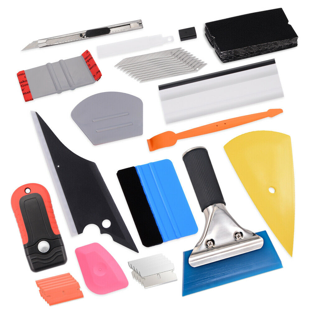 EHDIS Carbon Fiber Vinyl Wrap Car Tools Kit Auto Accessories Window Squeegee Foil Film Sticker Cutter Knife Tinting Tools Set