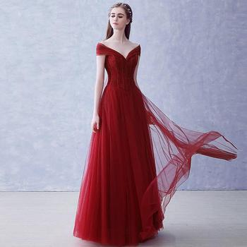 Vintage Boat Neck Lace Evening Dresses Vestido Debutante Noble Beading Appliques Floor Length Party Prom Gown Women Host Dress