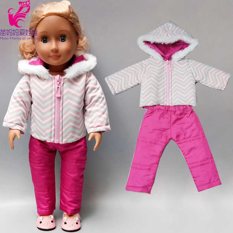 Boneka Bayi Pakaian Ski Jaket Celana Set 18 Inch Amerika Boneka Pakaian Mantel Musim Dingin